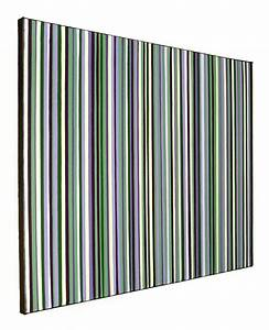 Original Modern Stripes Decor Green And Purple Wall Art