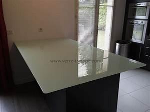 Dessus De Table En Verre : dessus de table verre trempe clair laque blanc2 cuisine verre tremp sur mesure ~ Teatrodelosmanantiales.com Idées de Décoration