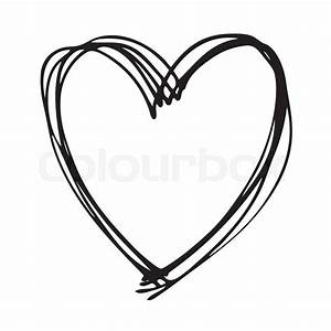Doodle Hand Drawn Heart Shaped On White Background