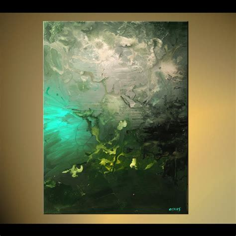 painting with green abstract painting vertical abstract green tones home decor 5702