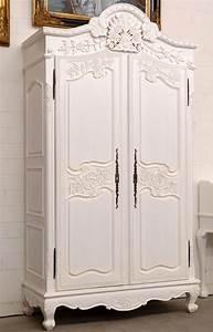 Schrank antik weiss ca238cm kleiderschrank massiv holz for Antik schrank weiß