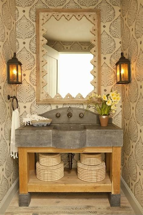 rustic powder room features  wood  concrete washstand