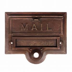 fantastic antique cast bronze letter slot with name holder With letter slot