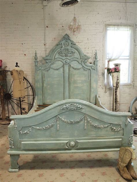 Queen Bed Rails For Headboard And Footboard by French Bed Painted Cottage Shabby Chic French Aqua Romantic