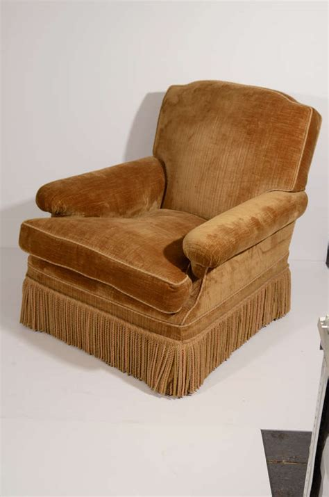 upholstered chair with ottoman french velvet upholstered chair with ottoman at 1stdibs