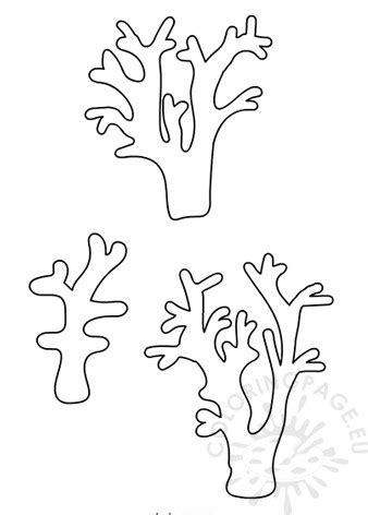 printable coral template coloring page
