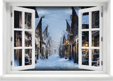 window   view harry potter hogsmeade winter