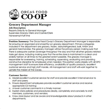 Grocery Store Manager Duties Resume by Customer Service Manager Description Technical Support Description Pdf Technical