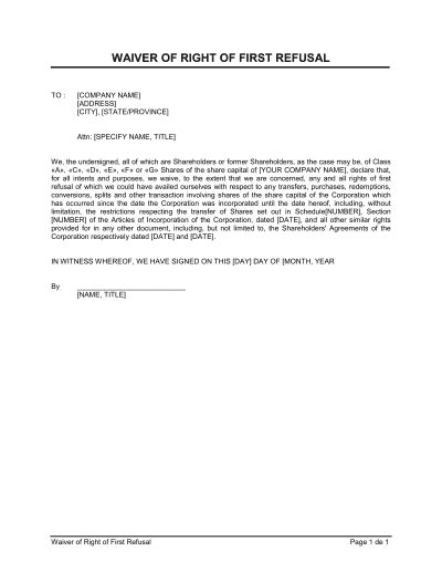waiver  consent template word   business