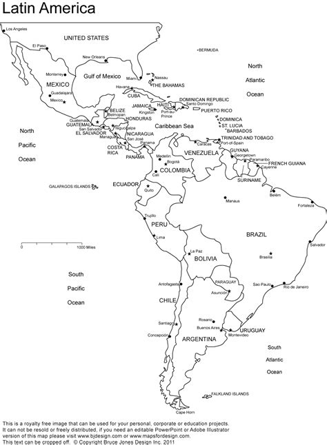 Blank Map Of Central And South America Coloring Latin For