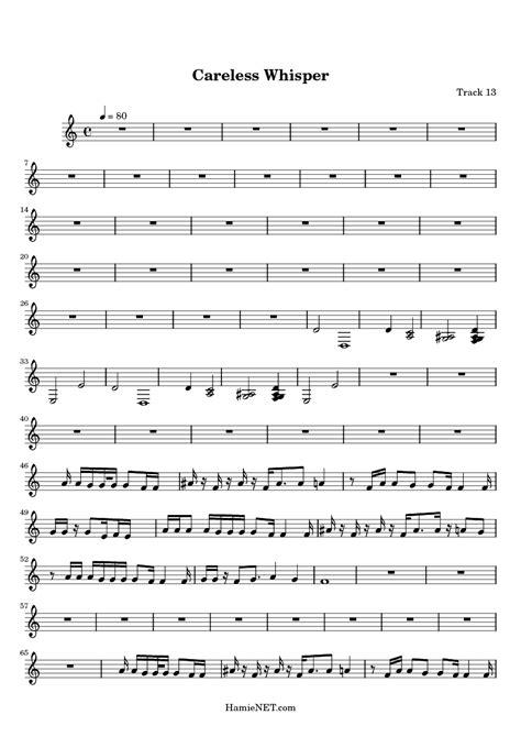 careless whisper sheet music careless whisper score