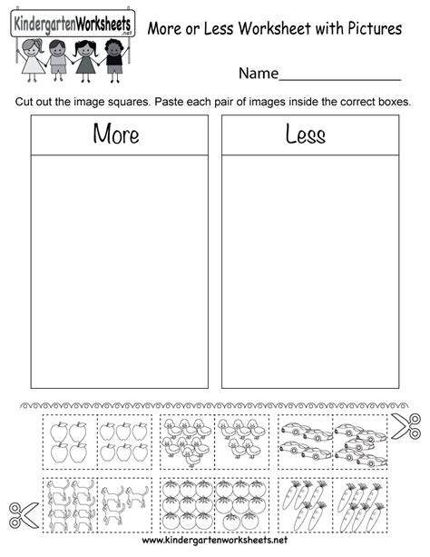 More Or Less Worksheet With Pictures  Free Kindergarten Math Worksheet For Kids