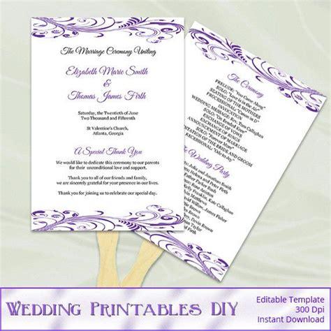 diy wedding program fans template purple wedding program fans template diy printable