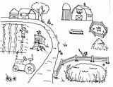 Farm Coloring Pages Hay Activities Animals Field Windmill sketch template
