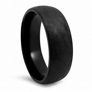 7mm rustic brushed finsh mens black titanium wedding band With mens black wedding ring