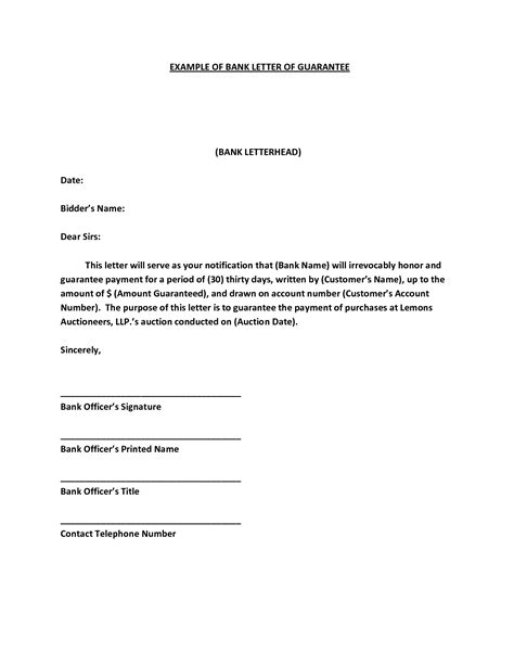 sample letter guarantee bank loan contoh