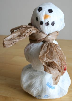 recycled grocery bag snowman   takes