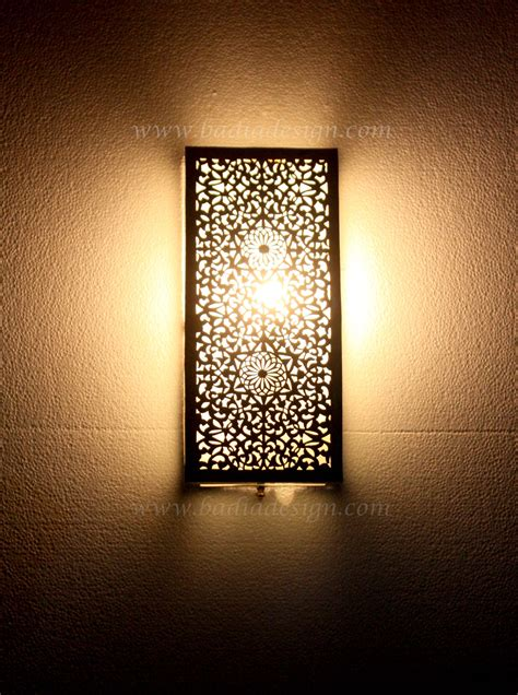 moroccan rectangular shaped silver wall sconce from badia