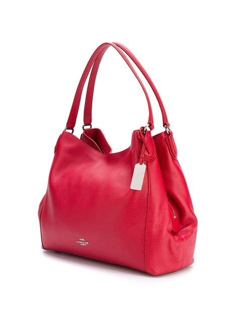 coach leather classic shoulder bag  red lyst