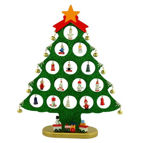 12 quot decorative wooden christmas tree with miniature wood ornaments decoration