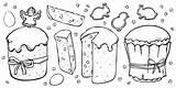 Cookies Angel Outline Cakes Chick Shape Easter Eggs Rabbit Pasqua Koekjes Milk Coniglio Uova Delle Insieme Voor Vector Illustrazione Kleuren sketch template