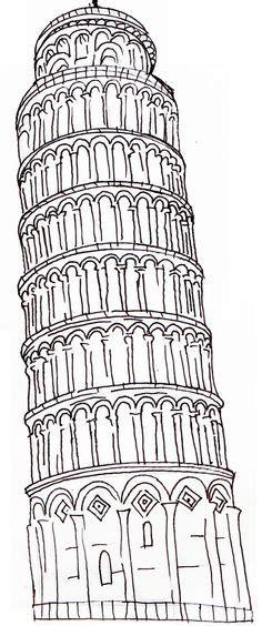 toren van pisa tekening pin by annelies selie veldhuijzen on wereldschool