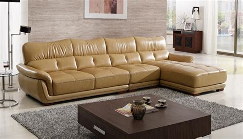 Free Shipping Modern Design Sofa , Yellow Top Grain Cattle