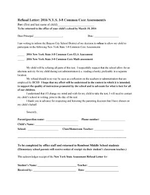 Fillable Online Refusal Letter b2016 NYSb 38 Common Core