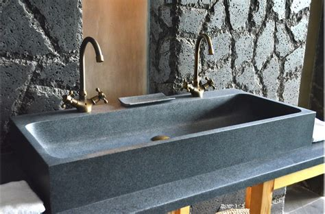 Mm Double Trough Granite Stone Bathroom Sink-looan