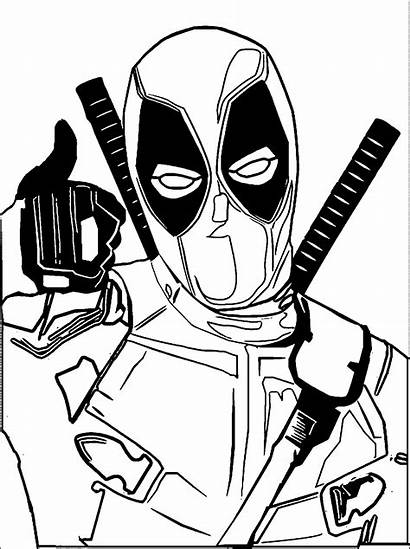 Deadpool Coloring Drawing Cartoon Clipart Spiderman Movie