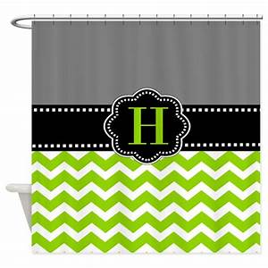 Gray green monogram shower curtain by for Kitchen colors with white cabinets with monogram stickers for cups