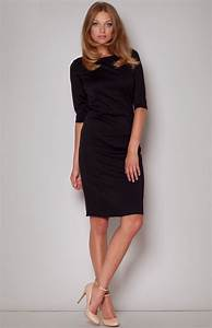 Black sheath dress with mid length sleeves flm202n for Robe noire fourreau
