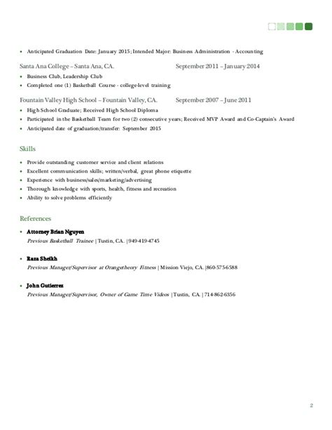 College Resume Expected Graduation Date by Resume