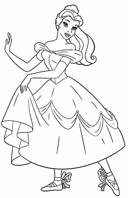 Ballerina Coloring Ballet Positions Printable Princess Belle