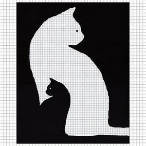 Kitten black white cat crochet pattern graph afghan cross ...
