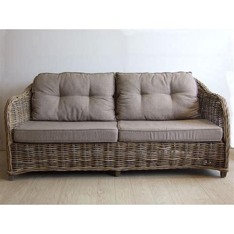canapé rotin 2 places canapé quot vermont quot 2 5 places avec coussins vannerie du boisle