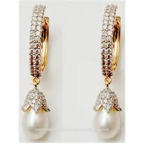 diamond huggie earrings pretty pearl designer diamond earrings buy indian design