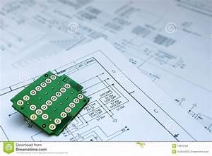 Circuit Board And Circuit Diagram Stock Image