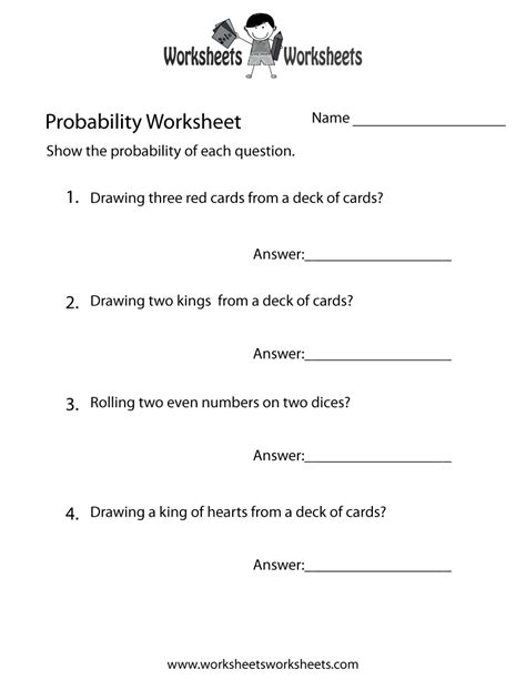 probability practice worksheet  printable