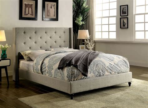 tufted bed king anabelle warm gray linen eastern king button tufted 2959