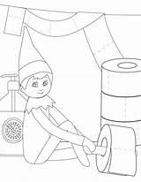 Elf Coloring Shelf Printable Decorate Toilet Paper Version sketch template