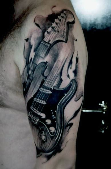 guitar tattoos  men acoustic  electric designs
