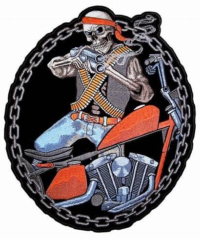 Biker Patch Motorcycle Skeleton Mercenary Patches Gun