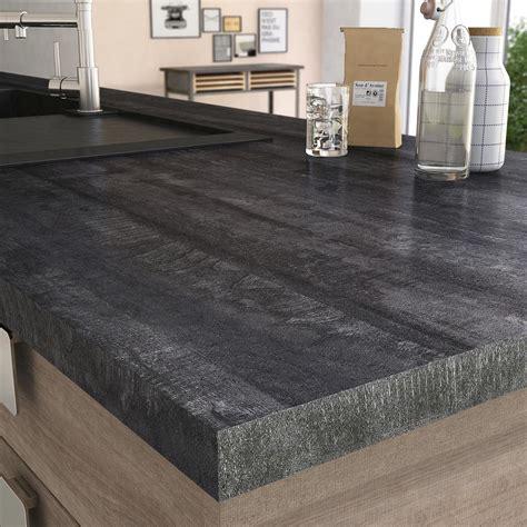 plan de travail cuisine profondeur 80 cm plan de travail stratifié vintage wood noir mat l 315