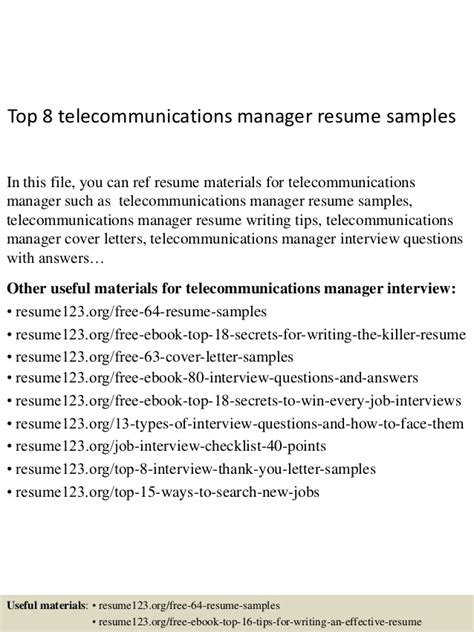 top 8 telecommunications manager resume sles