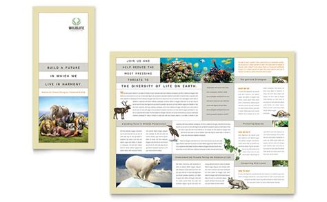 nature wildlife conservation tri fold brochure template