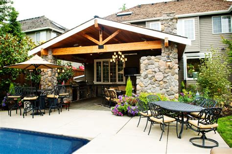 outdoor living craftsman patio seattle by mccarthy