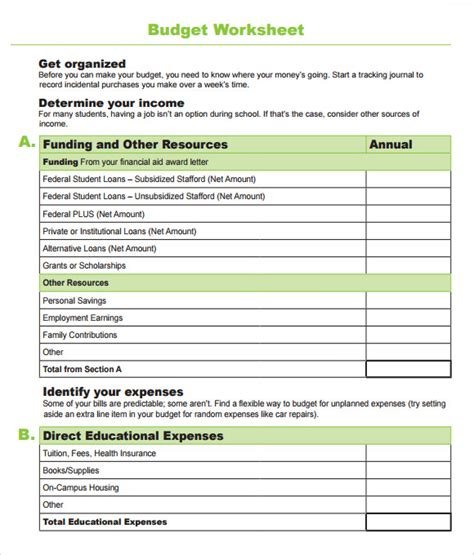 budget worksheet templates  sample examples