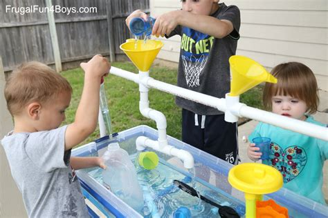 play day sand and water activity table how to build a pvc pipe sand and water table frugal fun