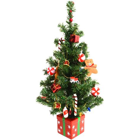 fantastic pre decorated 60cm 24 quot artificial desk top table centre tree - Small Pre Decorated Christmas Trees